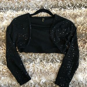 Sweaters - Black Sequin Cropped Shrug